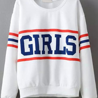 White Striped GIRLS Print Long Sleeve Sweatshirt