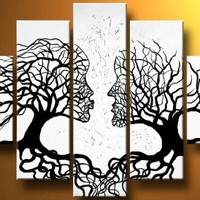 Cherish Art Hand Painted Oil Painting Gift Lovers Trees Kiss 5 Panels Wood Inside Framed Hanging Wall Decoration