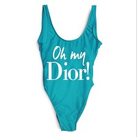 DIOR 2018 Female Sexy High Quality Delicate One Piece Swimsuit Bikini F-ZDY-AK Blue+white letters