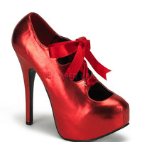 Bordello Red Metallic Stiletto Platforms