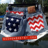 USA Flag Stars Stripes Chevron High Waisted Patriotic Shorts 4th of July waist 28 // suznews etsy store //