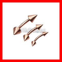 Rose Gold Eyebrow Spike Curved Barbell Ring 16G Ear Nipple Ring Cartilage Earring Helix Piercing Conch Nose Lip Belly Navel Jewelry Daith