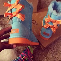UGG bow leather boots boots in tube shoes