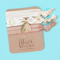 Embellished Charm and Tassel Hair Tie Bracelet Set in Cream, White Axtec, Tan on Gold Foil Cardstock