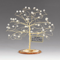 """Personalized Wedding Anniversary Cake Topper Tree Gift Idea Custom Swarovski Crystal Elements on Silver Copper Gold Any Anniversary 6"""""""