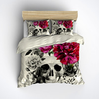Featherweight Skull Bedding -  Black & Pink Skull Print on Cream Fabric - Comforter Cover - Sugar Skull Duvet Cover, Sugar Skull Bedding