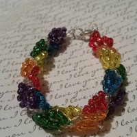 Rainbow Russian Spiral Beaded Bracelet. Gay Pride Lesbian Homosexual LGBT Don't Let Anyone Steal Your Pride! Red Orange Yellow Green Blue