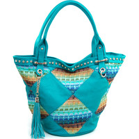 Women's Fashion V-Frame Rhinestone Studded Tote w/ Faux Straw Stitch Design - Turquoise Color: Turquoise