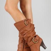 Bumper Rigel-02 Buckle Slouchy Knee High Boot