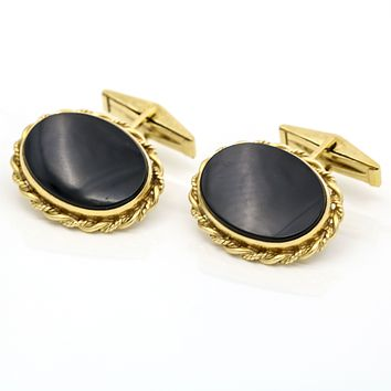 Faux Onyx Oval Gold Tone Cuff Links