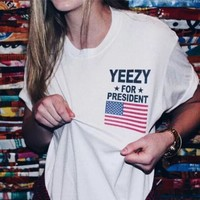 Letter Casual Short Sleeve Shirt Yezzy Top Tee