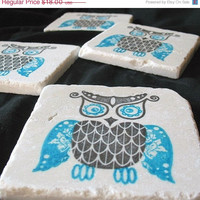 ON SALE Bold Owl Tile Coasters, Azure Blue and Black, Set of 4, Ready to Ship