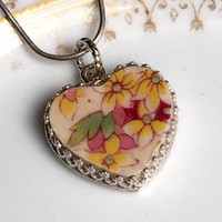 Broken China Jewelry, China Necklace, Vintage Chintz China, Heart Pendant, Sterling Silver, Yellow, Romantic Birthday Gift Her, Victorian