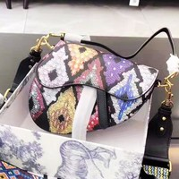 DIOR fashion hot seller retro casual lady contrast shopping shoulder bag