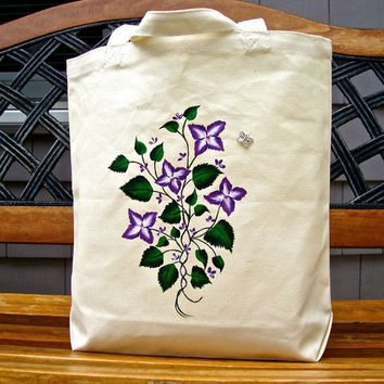 Hand Painted Tote Beach Bag Summer Bag With Butterfly Charm