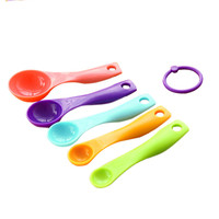 AIHOME 5pcs/lot different sizes Colorful Measuring Spoons Set Kitchen Tool Utensils Cream Cooking Baking Multifunctionl Teaspoon