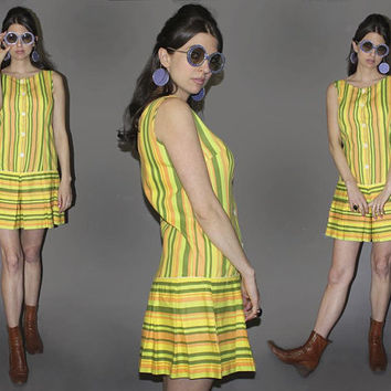 Vintage 60s GROOVY SCOOTER DRESS / Striped Mod Romper / Olive, Lime Green, Lemon Yellow / Summer Skort, Pleated, Drop Waist / S M