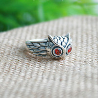 Owl Silver Ring Sterling Ring .925 Silver Ring Personalized Ring