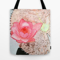 pink waterlily. floral photo art. Tote Bag by NatureMatters