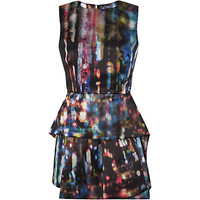 McQ Alexander McQueen Digital Print Satin Peplum Dress