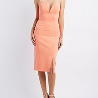 PLUNGING SWEETHEART BODYCON DRESS
