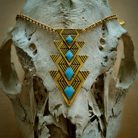 Gold & Turquoise Geometric Necklace Free Shipping