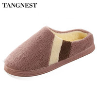 Tangnest Velvet Home Floor Slippers For Women Men Winter Indoor Coral Fleece Shoes Mixed Color Soft Cotton Slipper Man XMT190