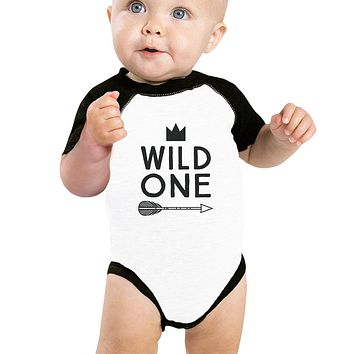 Wild One Feather Baby Black And White BaseBall Shirt