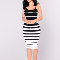 Enzo Knit Dress - Black/White