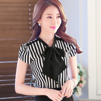 Autumn New Shirt Fashion Short Sleeve Casual Plus Size Female Women Stripped Blouse Bow Collar Plus Size Tops With Button 71610
