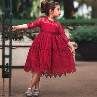 Ruby's Christmas Lace Embroidery Dress