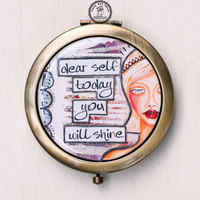 Vintage Mirror with Positive Quote, Bronze Antique Mirror, Purse Mirror, Compact Mirror, Pocket Mirror, Affirmation, Double Sided Mirror