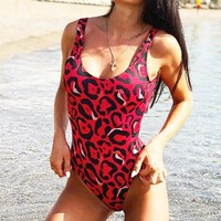 Summer New Fashion Leopard Print Vest One Piece Bikini Swimsuit Red