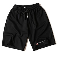 Champion Summer Classic Popular Men Women Loose Print Sports Running Shorts Black