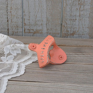 Bottle Opener, Wall Mounted, Shabby Chic, Coral, Hand Painted, Cast Iron, Metal, Distressed, Beach Decor, Open Here