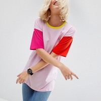 ASOS T-Shirt In Oversized Cutabout Color Block at asos.com