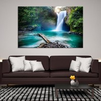 24615 - XLarge Beautiful Waterfall Canvas Art | Extra Large Waterfall Wall Art | Waterfall Canvas Print | Landscape Wall Art |  Home&Office Decoration