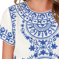 Greece Lightning Blue and Ivory Embroidered Crop Top