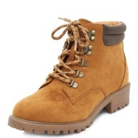 Teens Tan Contrast Trim Lace Up Hook Boots