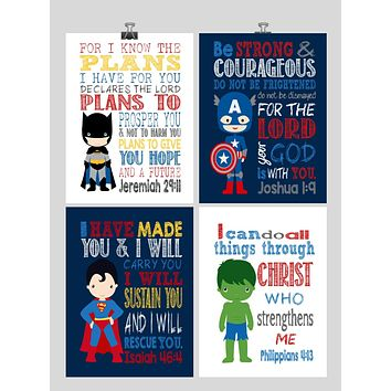 Superhero Christian Nursery Decor Set of 4 Prints, Batman, Captain America, Superman and Hulk