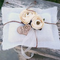 Vintage Wedding Ring Pillow Burlap Pillow by braggingbags on Etsy