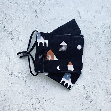 Origami Face Mask - Houses in Black