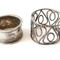 Two Vintage Napkin Rings - Silver Metal - Napkin Holders
