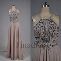 Custom Beads Crystals Halter Long Prom Dresses Evening Dresses Bridesmaid Dresses Party Dress Evening Gowns Cocktail Dress Homecoming Dress