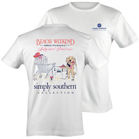 Simply Southern Beach Weekend Salty Hair Don't Care Yeti White Bright T Shirt