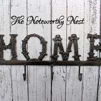 """Oil rubbed bronze 17"""" Large Home Sign // Iron Home Sign // Home Hook // Key Hook // Key Holder // Shabby Chic // Metal home //"""