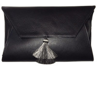cleo envelope clutch in black cow leather with horsehair tassel