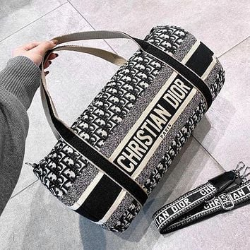 Dior New Canvas Embroidered Letters Color Block Men's and Women's Large Capacity Duffle Bag