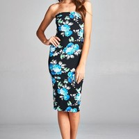 Blue Floral Tube Dress