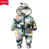 Baby Rompers Winter Thick Warm Baby boy Clothing Long Sleeve Hooded Jumpsuit Kids Newborn Outwear for 0-12M